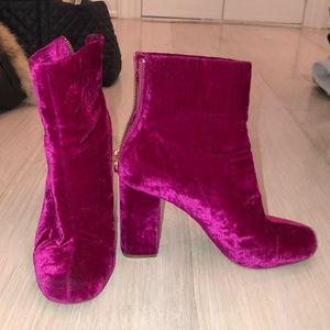 Joie pink velvet booties